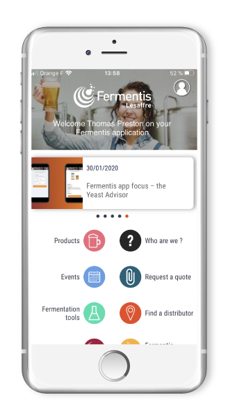 Application mobile Fermentis for winegrowers