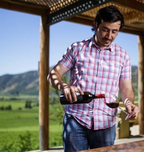Diego Guzmán, winemaker with a glas of red wine